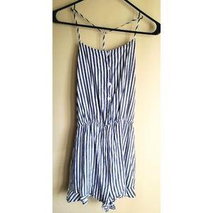 Lush Blue & White Striped Button front Romper